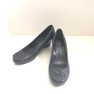Tory Burch Shoes Sally Wedge Pebbled Leather Black